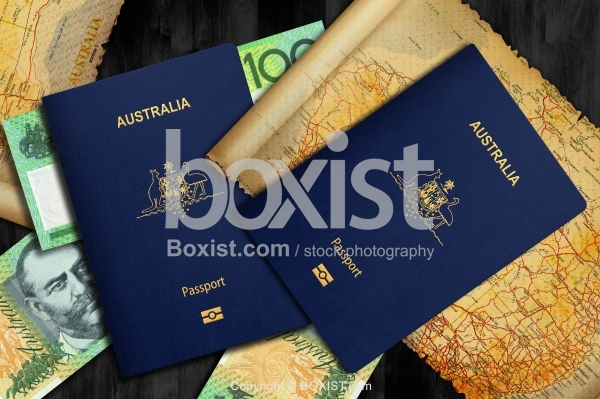 Australian Passports With Map and Money