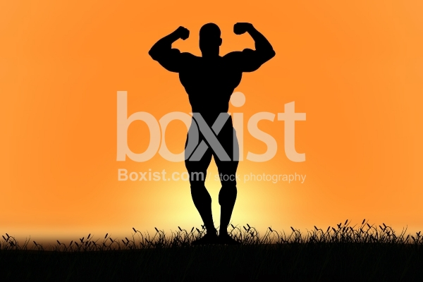Bodybuilder Silhouette at Sunset