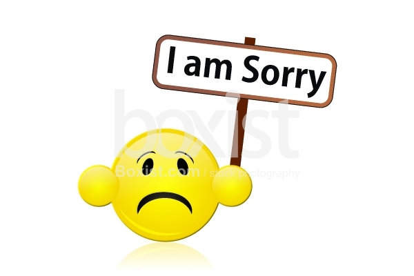 I am Sorry Sign with Sad Smile