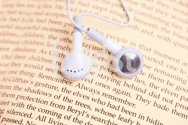 Music Headphones on Book Page