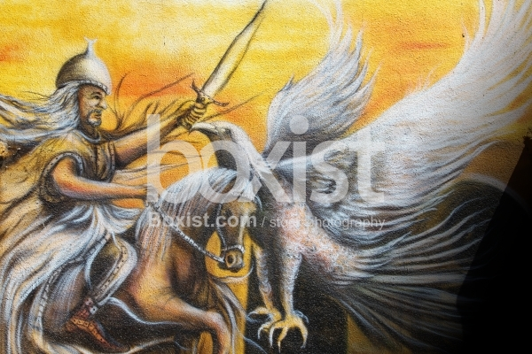Muslim Knight on Horse with Eagle Painting