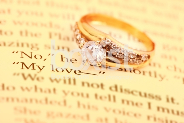 My Love in Printed Book with Golden Ring