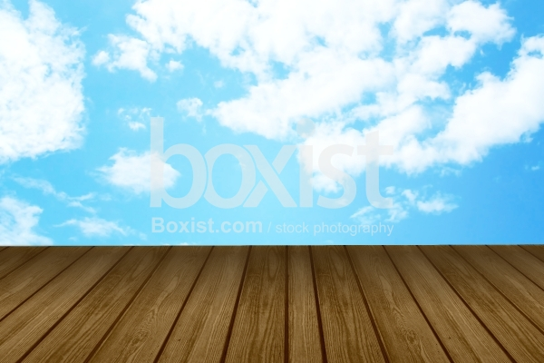 Wooden Jetty with Blue Sky