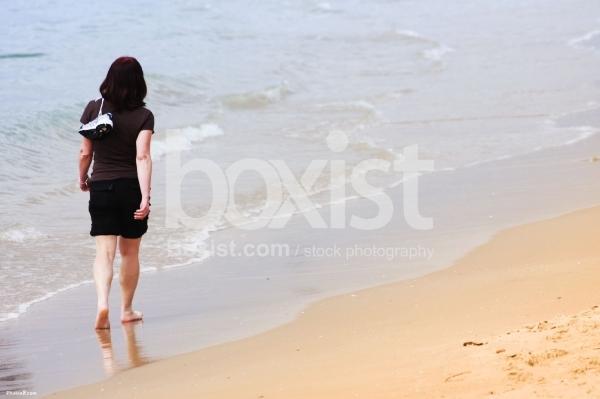 Walking Barefoot Girl at The Beach