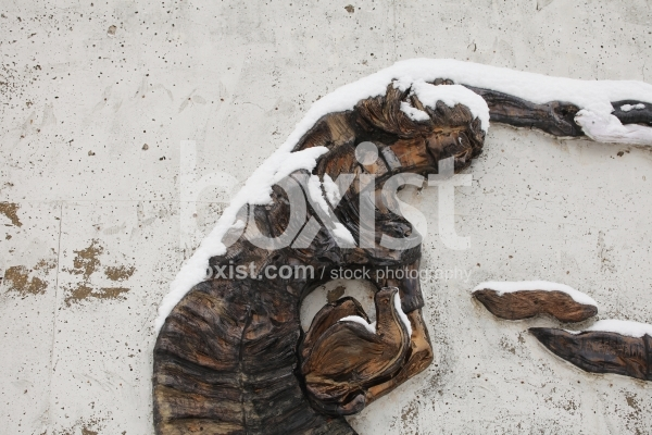 Wall Sculpture with Snow