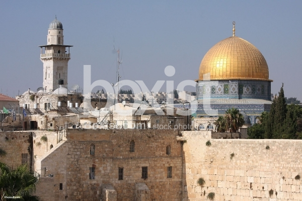 Western Wall and Dome of the Rock in Jerusalem Old City